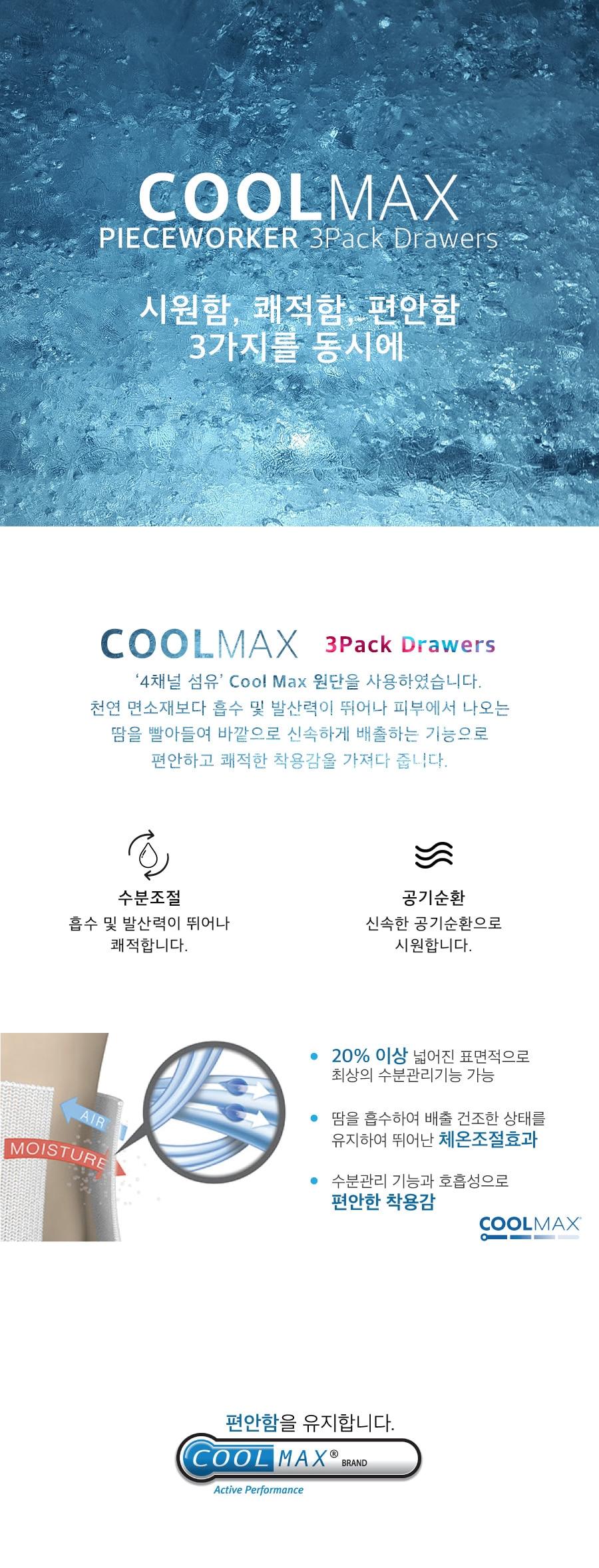 피스워커(PIECE WORKER) Coolmax 3pack Drawers / Simply & Basic
